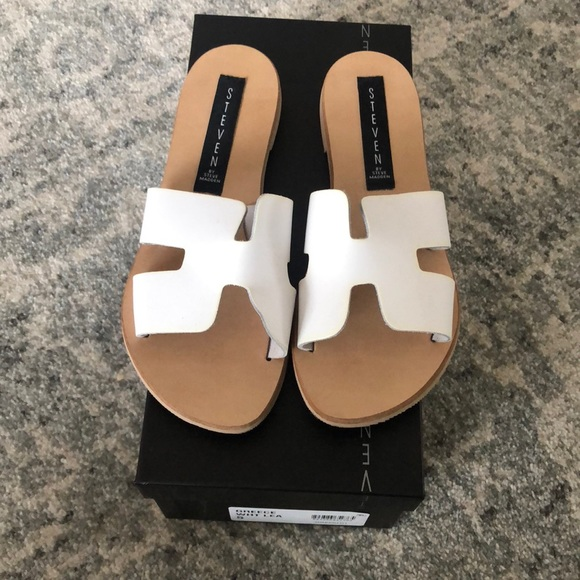 9b057e8f25f Steven by Steve Madden Greece Sandals in White Lea.  M 5c2d10687386bc708a069314